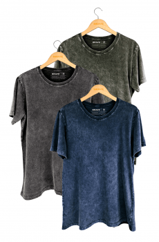 Kit 3 Camisetas Marmorizadas Brave - Gola Básica