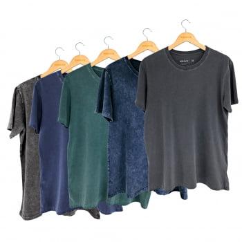Kit 5 Camisetas Estonadas e Marmorizadas - Gola Básica